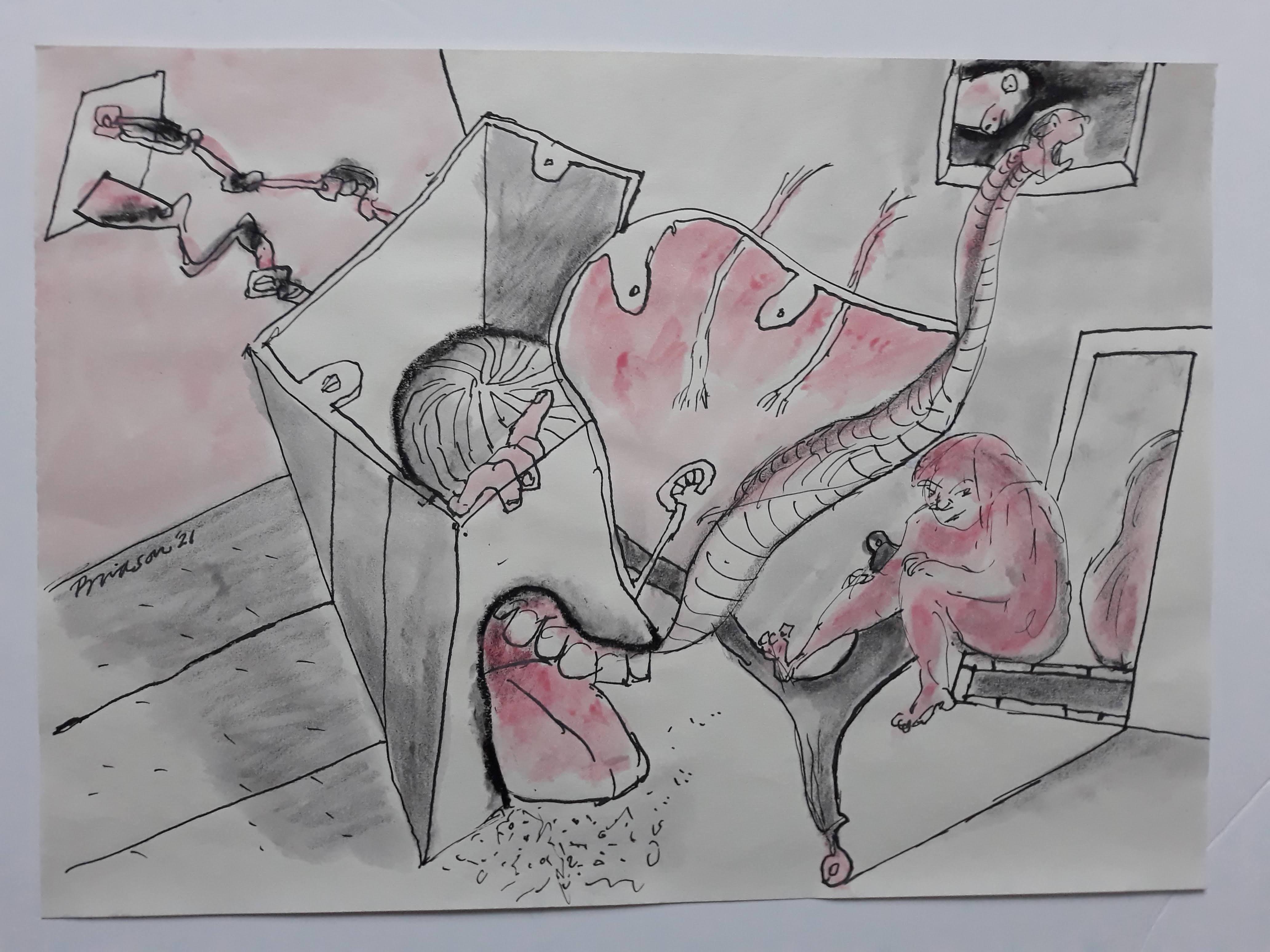 'Interior with Teeth',  2021, 30 cm x 41 cm