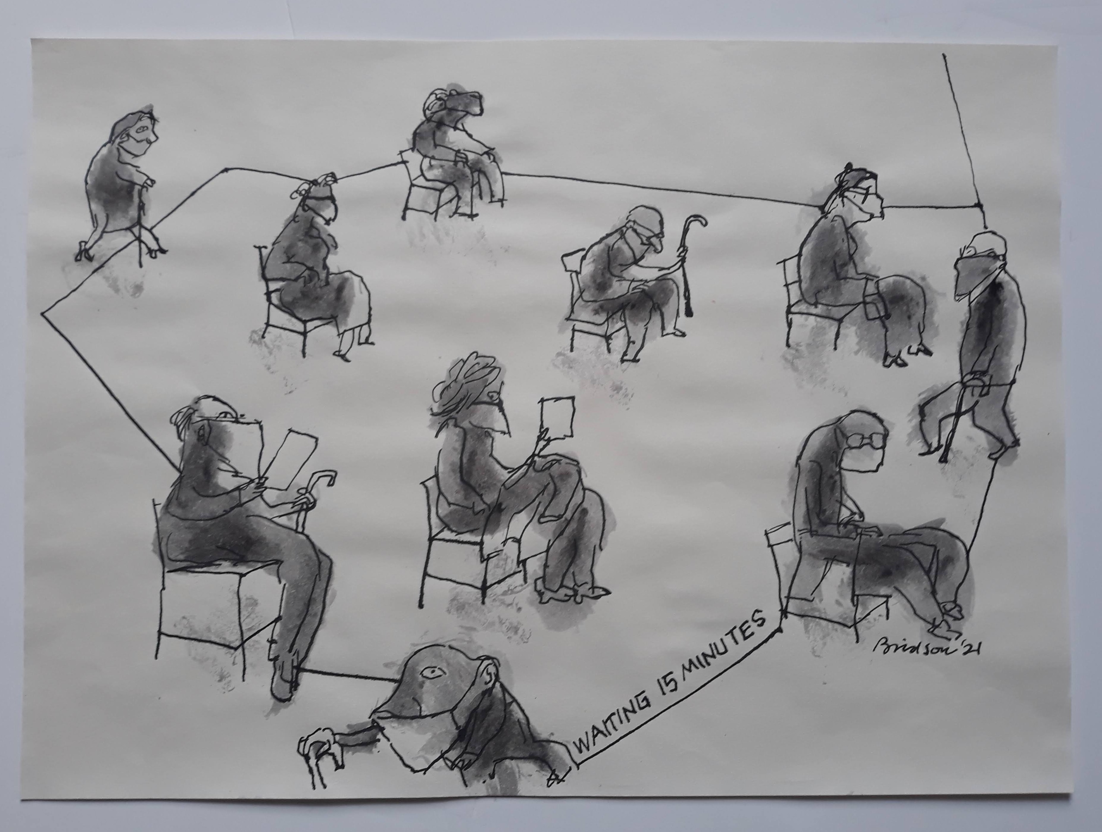 'Waiting 15 minutes in  out',  2021, 30 cm x 41 cm