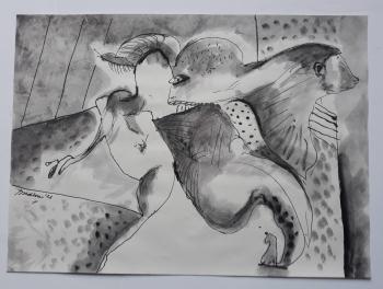 'Primitive Heads',  2021, 30 cm x 41 cm