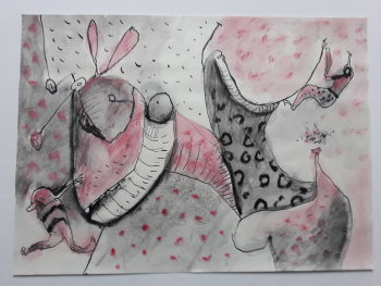 'Two Figures and a Rabbit',  2021, 30 cm x 41 cm