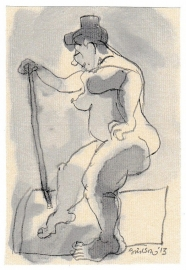 'Woman and stick'
