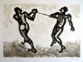 'Two men with string one'