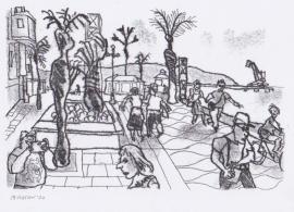 'Almeria promenade'. Drawn in isolation during Lockdown, 2020
