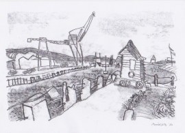 'Newhaven crane'. Drawn  during Lockdown, 2020