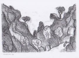 'Road near Deia'. Drawn in isolation during Lockdown, 2020