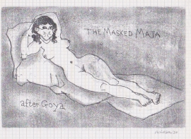 'The masked Maja after Goya'. Drawn during Lockdown, 2020