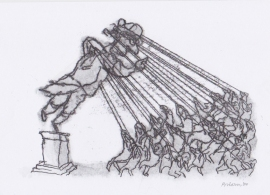 'Toppling a statue'. Drawn during Lockdown, 2020