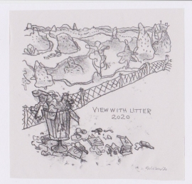 'View with litter'. Drawn in isolation during Lockdown, 2020