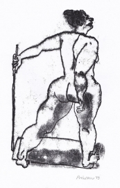 'Woman with stick'