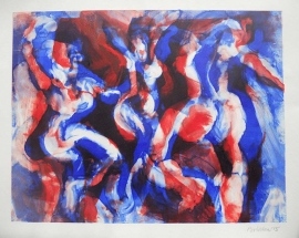 'Red blue dancing girls'