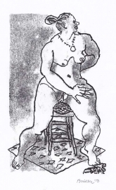 'Woman on stool'