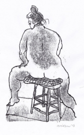 'Woman seated back view'