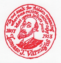 Rubber stamp commemorating my friend, spirit-guide and severest critic. Tomaso J. Varmegõs